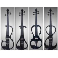 China Black Solid Basswood Left Handed Electric Violin With Inlaid Purfling wholesale