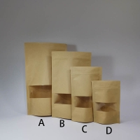 China 300x180mm 7 Inch Kraft Paper Pouches , Kraft Paper Stand Up Pouch With Window on sale
