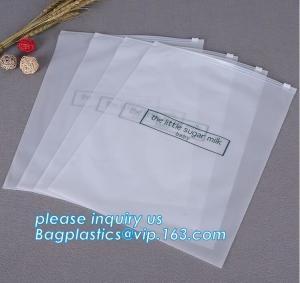 China custom printed transparent bottom gusset slider zipper garment packaging pouch ziplock swimwear clothing bag clear poly on sale