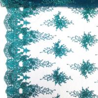 China Green Color Teal Spirit Floral Bridal Beaded Lace Fabric On Mesh 100% Polyester wholesale
