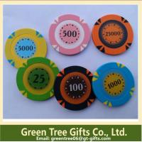 China 14g 3 Color Crown Monte Carlo Clay Poker Chip With Gold Trim Sticker wholesale