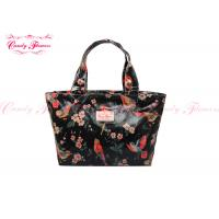 China Modern Black Floral Printed Reusable Shopping Bags For Women / Girls wholesale