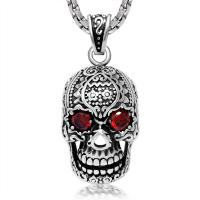 Quality Fashion Mens 316L Stainless Steel Pendant Necklace Skeleton Scary Face For Gift for sale