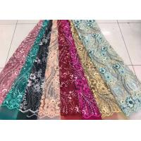 China Embroidered Sequin Lace Fabric , Floral Tulle Fabric For Fashion Party Gown Dress wholesale