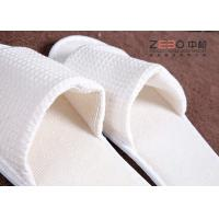 Open Toe Hotel Disposable Slippers / Cotton Waffle Slippers With Embroidery Logo