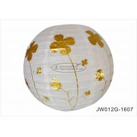 Quality Anniversary Ceremony 12 Inch Round Paper Lanterns With Hot Foil Gold Flowers for sale