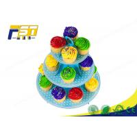 China 3 Tiered Cardboard Cupcake Stand , Colorful Cardboard Wedding Cake Stand SGS Approval wholesale