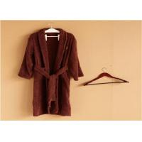 China Hotel Kimono Collar Bathrobes Towel Soft Coral Velvet Dark Red Color wholesale