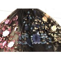 China Flower Embroidered Sequin Lace Fabric , Multi Colored 3D Flower Mesh Lace Fabrics wholesale