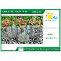China Artistic Cast Stone Garden Fountains Polished Surface With Three Crystal Glass Balls wholesale