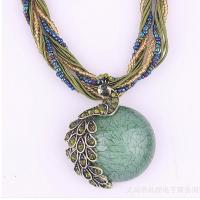 China Fashion Rhinestone necklace for women pearl pendant peacock necklace wholesale