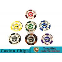 China 14 Gram Matte Sticker Custom Clay Poker Chips With 25pcs In A Shrink Roll wholesale