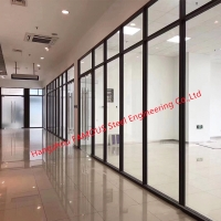 China OEM Soundproof Office Demountable Aluminum Frame Double Glass Partition wholesale