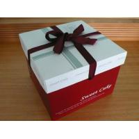 China Red Cake Paper Box Packaging With Silk Ribbon , Custom Designed Boxes wholesale