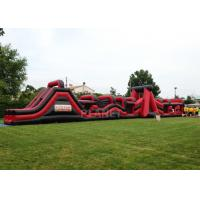 China Super Explorer Inflatable Obstacle Course Red Color Double Stitching wholesale