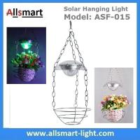 China Stainless Steel Flower Hanging Basket With Solar LED Light RGB Color Changing Wind Bell Lamp Red Green Blue LED Color wholesale
