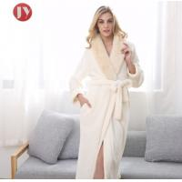 China Hot Sale Extra Long Fleece Women Robe Night Gown luxury Fur Collar Bathrobe Plus Size Winter Thickening Dressing gown on sale
