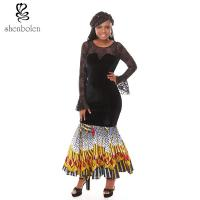 China Summer Lace Batik Cloth Stitching Long Sleeves Modern African Dresses Novelty wholesale