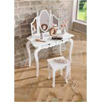 China Home Decor Solid Wood Dressing table lilly White Set With Mirror And Stool wholesale