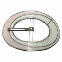 China Metal Oval Buckle, Made of Alloy, with White and Pink Epoxy Colors, with Single Prong wholesale