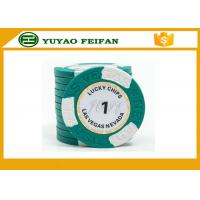 China Clay Two block TEXAS HOLDEM poker chips with Paper Stickers and engraved words on the surface wholesale