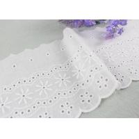 Buy cheap Embroidered Flower Eyelet Cotton Lace Trim With Azo Free Organic 13cm Width from wholesalers