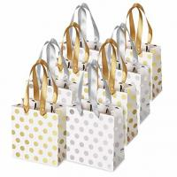 China Small Kraft Paper Bags 6x5.5x2.8'' Matching Ribbon Handles Included on sale