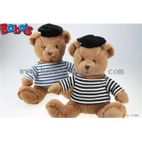 China Navy Teddy Bear Plush Gift Soft Bear Toys with Sailor's Striped Shirt and Black Cap wholesale