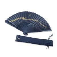China Folding gold printing Black Handmade Paper Fan Gift Fansionable Design With Fabric Bag wholesale