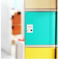China Keyless ABS Plastic Lockers Green Door 4 Comparts 1 Column For Students wholesale