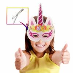 China Party Rainbow Unicorn Paper Mask For Kids Glitter Surface Finishing on sale