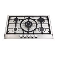 China Stainless Steel Five Burner Gas Hob With Cast Iron Pan Supports / Auto Ignition wholesale