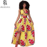 China Sexy Halter Neckline Short Top African Print Dresses Maxi Ankara Wax Batik Printing wholesale