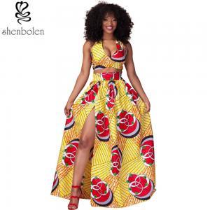 China Sexy Halter Neckline Short Top African Print Dresses Maxi Ankara Wax Batik Printing wholesale