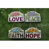 China Portable Household Ceramics , Cement Garden Decoration With Wording Love Peace Faith Hope wholesale