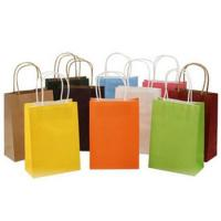 China Colored Kraft Paper Bag Kraft Paper Carrier Small Bags With Paper Handles on sale
