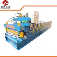China Glazed Tile Trapezoidal Sheet Roll Forming Machine For Factory Roof / House Roof wholesale
