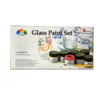 China Non - Toxic Art Painting Colours 8 Pcs Glass Paint Set 8X15ml 20 Light Fast Colours on sale