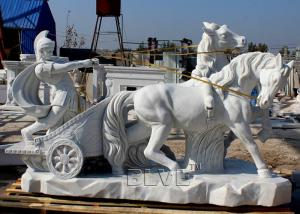 China BLVE Roman Chariot Marble Statues Life Size Outdoor Soldier Sculpture Hand Carved Garden Decoration wholesale