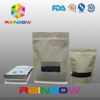 Box Bottom Customized Paper Bags With Rectangle Window Ziplock / Flat Bottom Paper Bag
