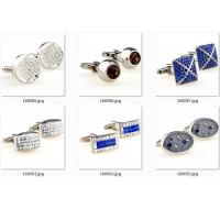 China Epoxy Gold Blue Diamonds Stainless Steel Cufflinks Army Gentle Cuff Link OEM Gift wholesale
