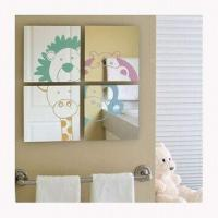 China 4pcs/set Wall-mounted Mirror with Silkscreen Printing, Measures 20 x 20cm wholesale