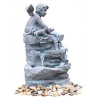China Angel On Rock Waterfall Resin Garden Fountains with LED Light Anchor Falls Cascading wholesale