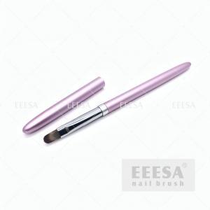 China Round 10 Gel Nail Brush Pink Metal Handle Polygel Acrylic Gel Builder Brush wholesale