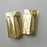Logo Custom Stand Up Coffee Pouches , Gold Metallic Ziplock Food Packaging Bags