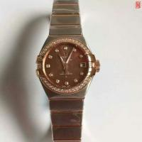 Omega Constellation Series 8520 Automatic Diamonds Mark Pearl Dial Gold Diamonds Bezel Lad