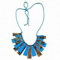 China Stylish necklace for garment or decoration, made of wax cord and assorted plastic discs wholesale