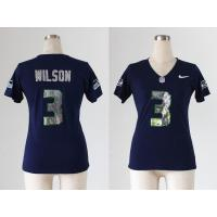 China NFL Seattle Seahawks 3#Wilson Women's Handwork Sequin lettering jersey wholesale