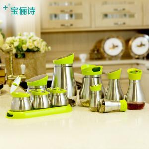 China Glass Storange Jar For Oil and vinegar Seasoning Pot Stainless Steel Jar Set Spice Jar on sale