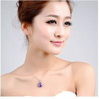 China 925 sterling silver jewelry 18k white gold plated women fashion necklace swarovski crystal pendant wholesale